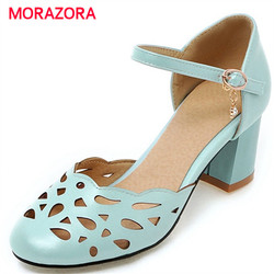 MORAZORA High heels shoes 6.5cm summer party shoes woman PU soft leather pumps shoes solid buckle solid sweet hollow out 1