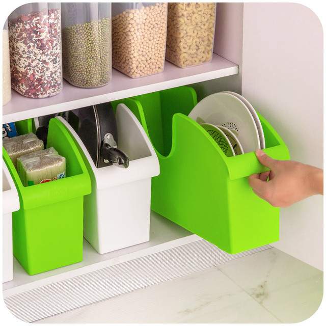 1PCS Upscale kitchen plastic storage box with wheels multifunction