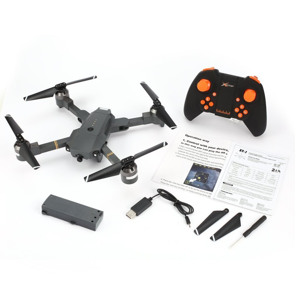 Attop XT-1 2.4GHz 6-axis Gyro Foldable Drone Wi-Fi 2MP HD Camera FPV RC Quadcopter with Headless Mode Altitude Hold 3D Flips syma x14w fpv drone with built in camera hd live video headless mode 2 4g 4ch 6 axis gyro rc quadcopter with altitude hold