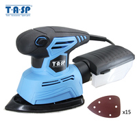 TASP 130W Electric Palm Sander Detail Sanding Machine Woodworking Tools for Wood with Dust Collection Box & 15 Sandpapers