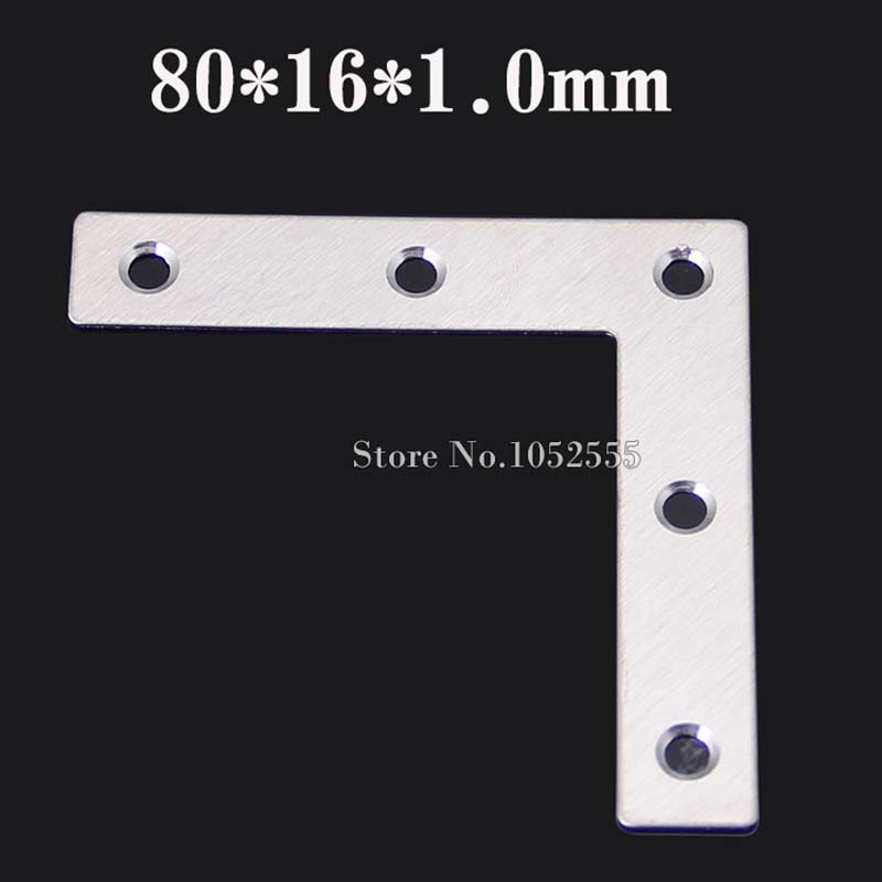 20pcs 80*16*1.0mm stainless steel angle Corner bracket L shape satin finish frame board shelf support + self-tapping screws K105 35cm aa shelf rails stainless steel support slot plate glass wooden board partition bracket holder shelf accessories