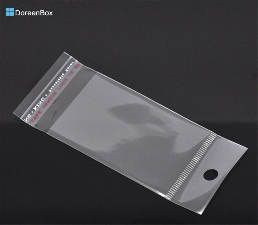 Doreen Box Hot-  200PCs Clear Self Adhesive Seal Plastic Bags 11.5x5cm (B05758)