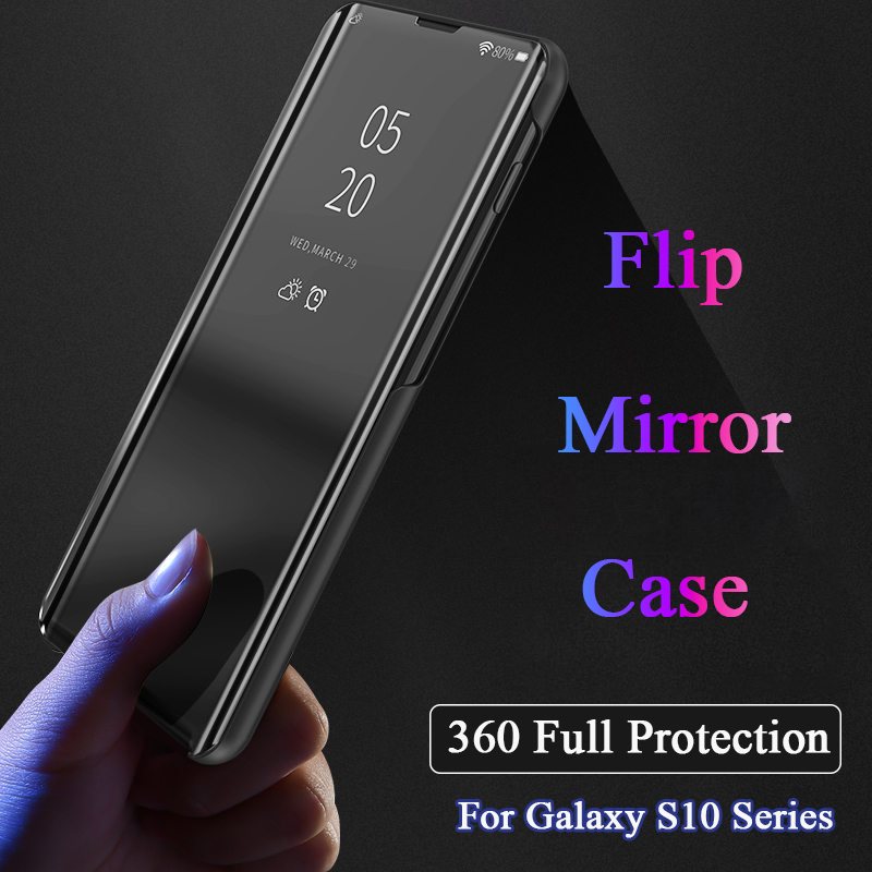 Luxury Mirror Smart View Window Case For Samsung S10 Plus + S10E Leather Full Protection Stand Cover For Galaxy S10plus CarcasaLuxury Mirror Smart View Window Case For Samsung S10 Plus + S10E Leather Full Protection Stand Cover For Galaxy S10plus Carcasa