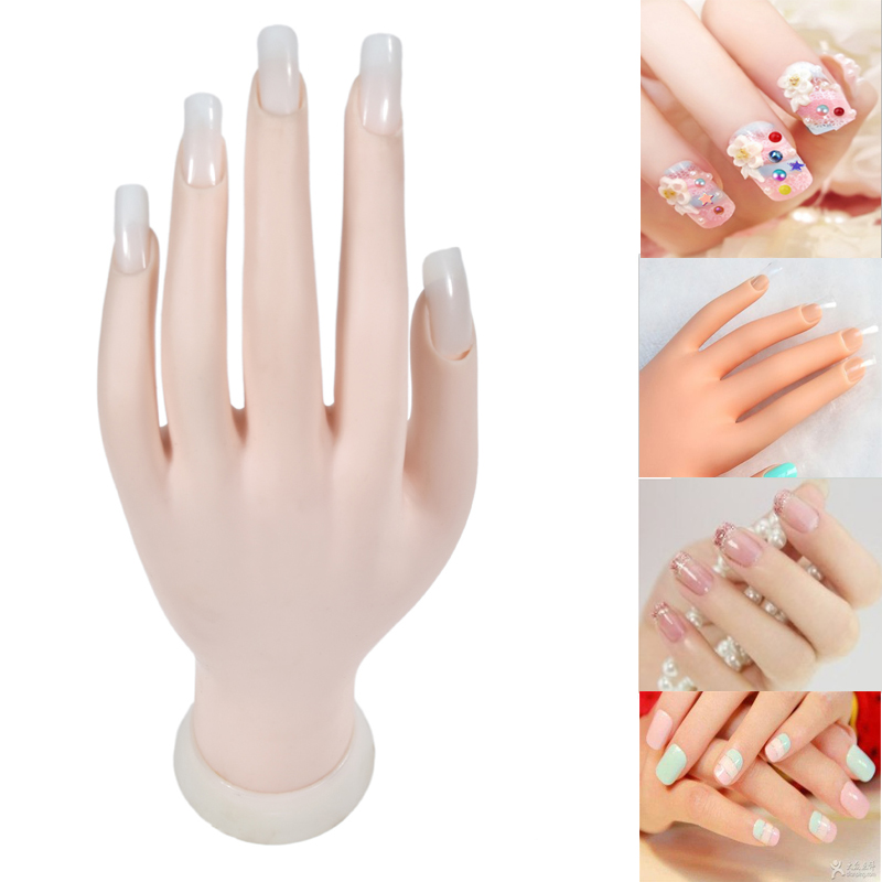 1Pcs Flexible Soft Plastic Flectional Mannequin Model Painting Practice Nail Art Fake Hand for Training Nail Art Design Can Bend