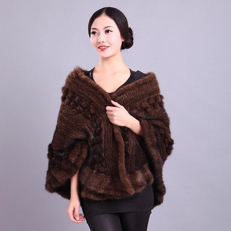 2015 Новый высокое качество натуральной трикотажные норки шаль пончо основы зима Для женщин реального норки Куртки натуральный мех платки ...