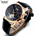 JARAGAR Automatic Watches Men Luxury Brand Rose Gold Bezel Sub-Dial Tourbillon Mechanical Wristwatch Man Clock Relogio Masculino