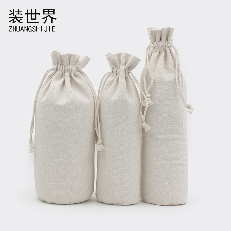 1 Pcs 17*39cm Custom Logo Printed Cotton Canvas Bags Drawstring Bag Food Packing  Christmas Gifts Pouch