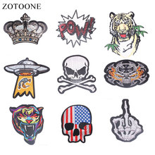 ZOTOONE Skull Crown Patches Tiger Stickers Diy Iron on Clothes Heat Transfer Applique Embroidered Applications Cloth Fabric G zotoone round punk patches diy skull stickers iron on clothes heat transfer applique embroidered applications cloth fabric g