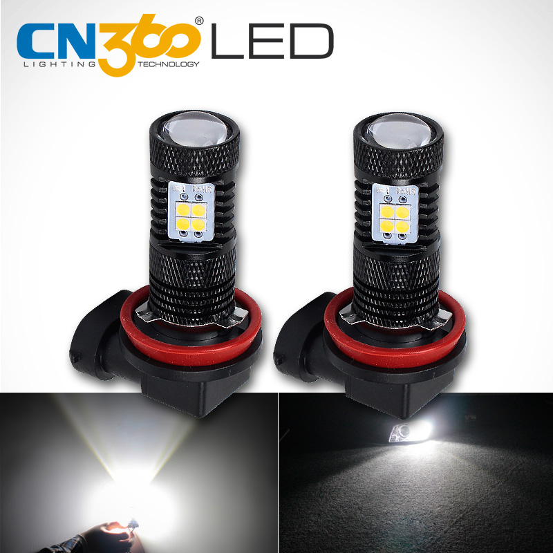 CN360 2PCS Izuzetno svijetla SMD3030 6500K Bijela boja H8 H9 H11 Auto-dnevna svjetla za maglu DRL Headlinghit Lamp žarulja LED 12V
