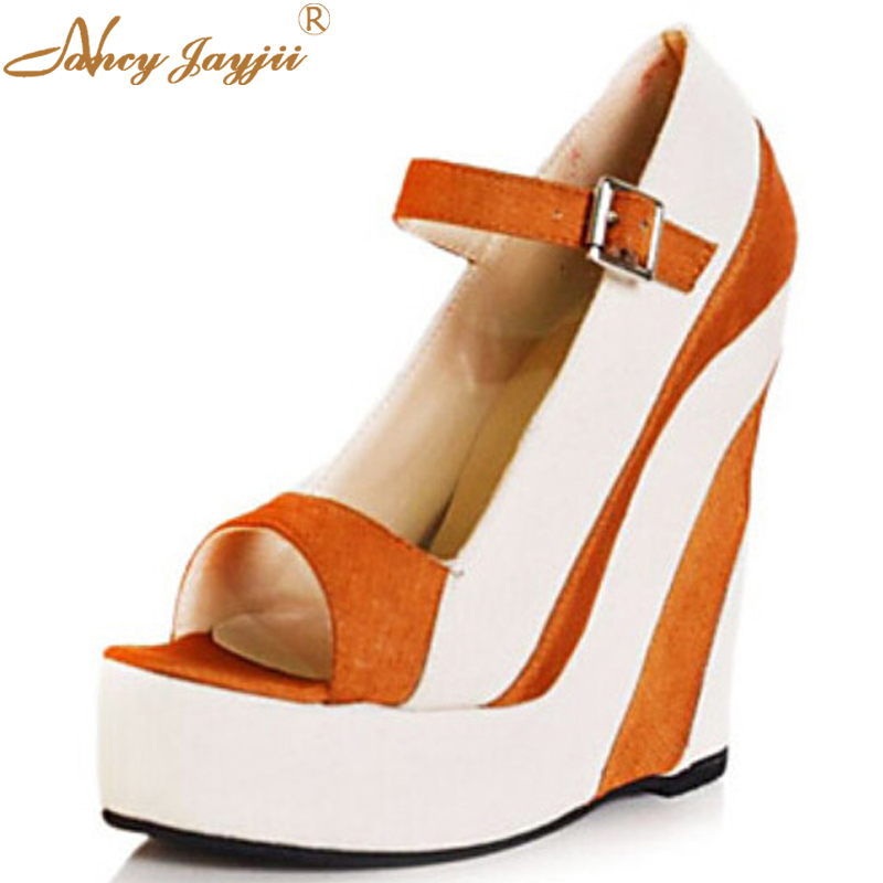 ФОТО Nancyjayjii Women Orange Pleather Peep Toe High Heel Platform Sandals Shoes,zapatos mujer shoes for woman plus size4-16,
