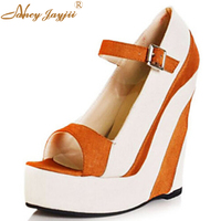 Nancyjayjii Women Orange Pleather Peep Toe Wedges High Heel Platform Sandals Designers Famous Brand Woman Shoes Zapatos Mujer