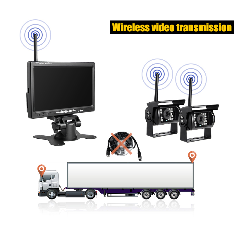 Wireless Car Rear View Backup Waterproof Dual Cameras Kit + 7 LCD HD Reversing Parking Camera Monitor for Bus Truck Trailer diykit wired 12v 24v dc 9 car monitor rear view kit backup waterproof ccd camera system kit for bus horse trailer motorhome