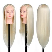 "SHERUI 28"" High Quality Fiber Gold Hair Styling Mannequin Head Practice Cutting Blonde Hairdressing Dummy Dolls Head For Wig(China)"