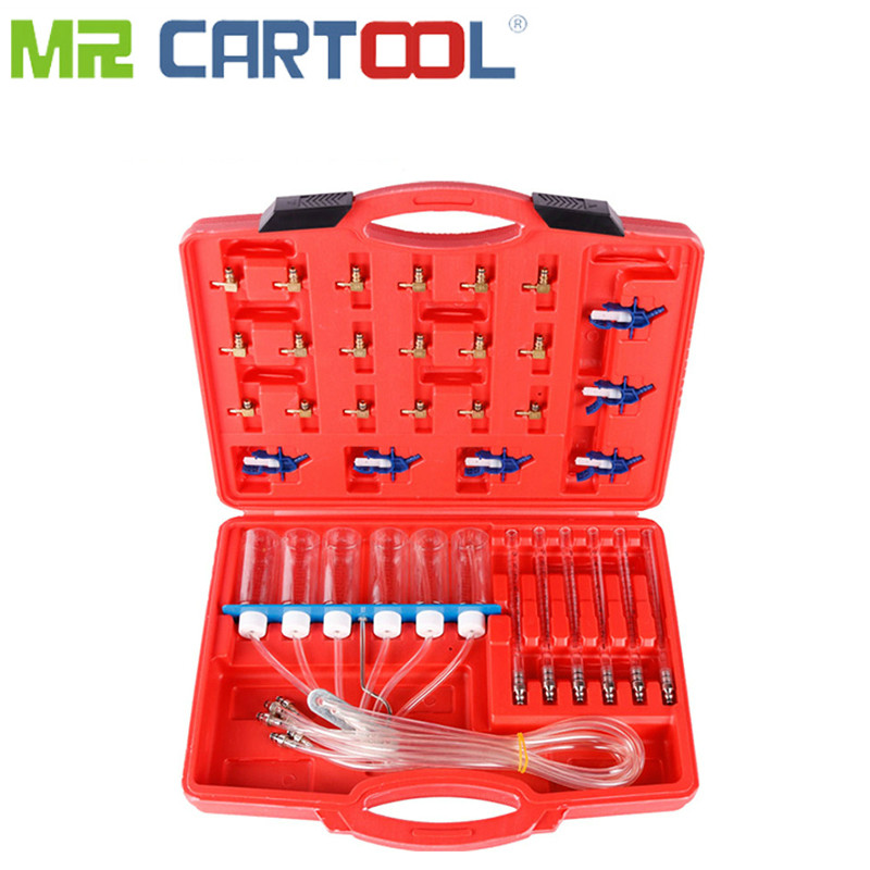 MR CARTOOL Auto Diesel Injector Flow Meter Tester Car Repair Kit Common Flow Injector 24 Adaptors Fuel Tester Automotive Tools