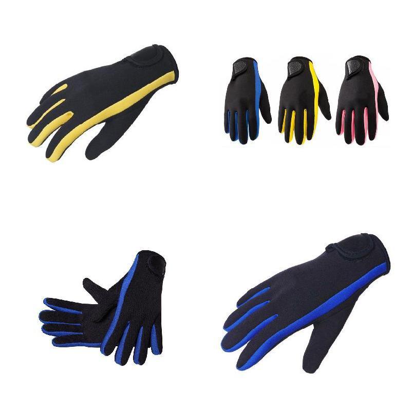 1 Pair 1.5mm Neoprene Skid-proof Diving Gloves Non-slip Scuba Diving Surfing Snorkeling Kayaking Five Finger Glove BHD2