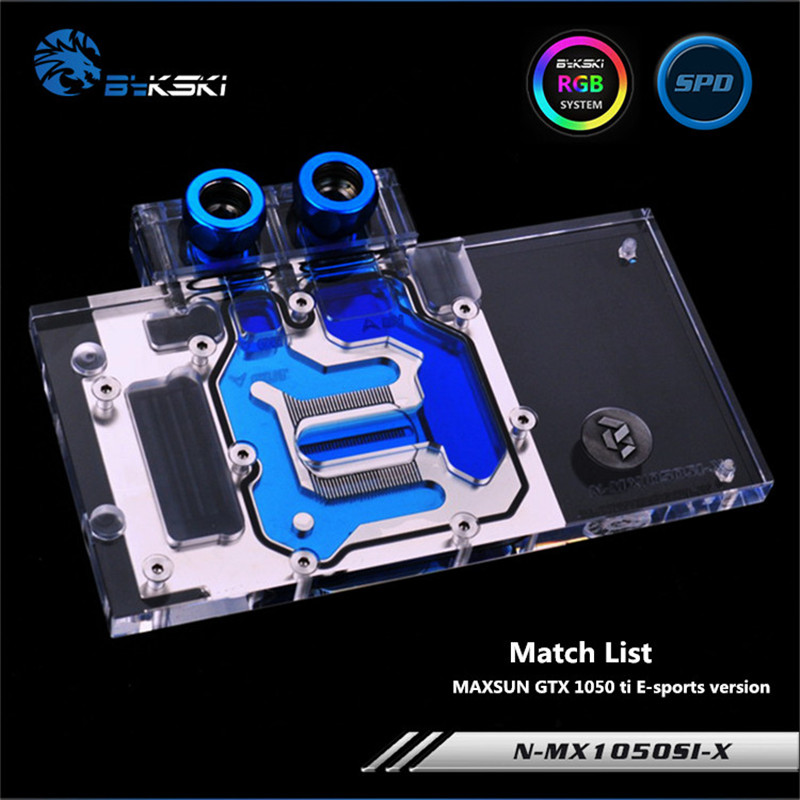 Bykski Full Coverage GPU Water Block For MAXSUN GTX 1050 ti E-sports version Graphics Card N-MX1050SI-X bykski full coverage gpu water block for maxsun gtx1080 super jetstream graphics card n mx1080sjm x