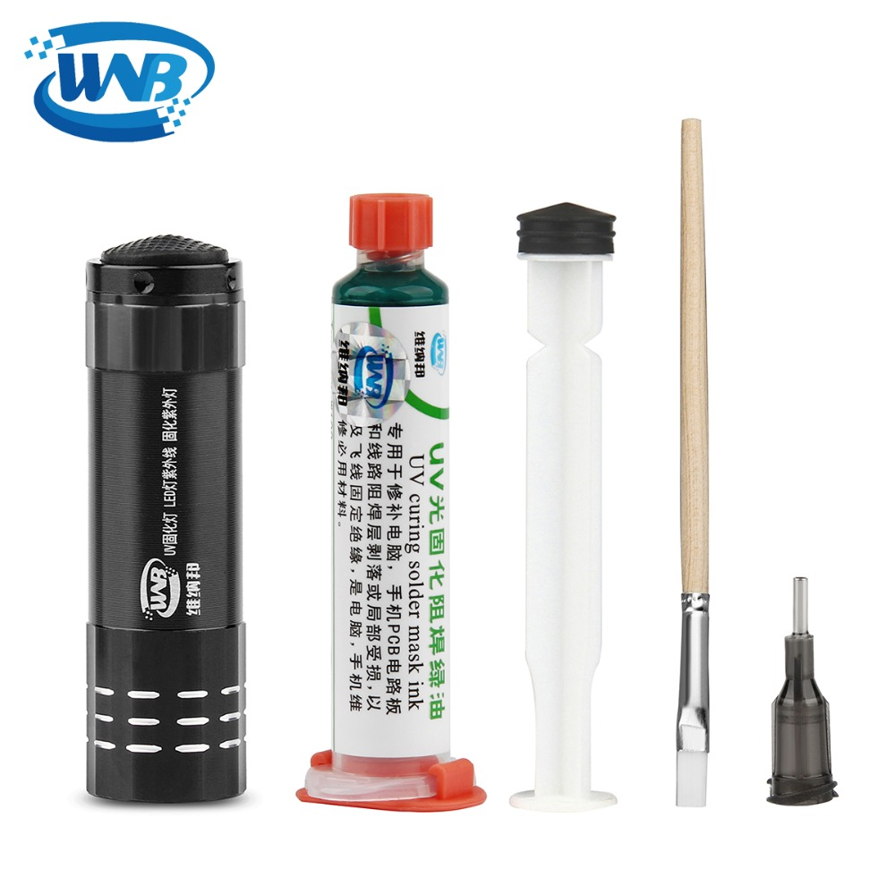 WNB 10ML Green Oil UV Solder Mask BGA PCB Paint Prevent Corrosive Arcing Soldering Paste Flux Inks Soft Nylon Brush 9 LED Light