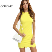 COLROVE Summer Sexy Women S Yellow Mock Neck Sleeveless Hollow Out Bodycon Shirt Dress Solid Club