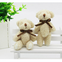 2PCS/LOT Joint Ted Bear Plush Toy Animal Stuffed Brown Doll Teddy Bears with Bow Plush Pendant Kids Toys Wedding Gifts WFR001