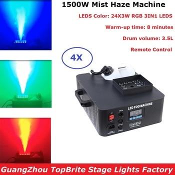 4Pcs Newest 1500W DMX LED Fog Machine Pyro Vertical Smoke Machine 24X3W RGB 3IN1 Professional Mist Haze Machine For Party Lights цена 2017