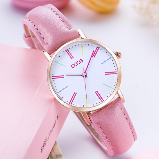 Frauen Fashion Casual Uhr Rosa Echtem Leder Luxus Marke Uhren