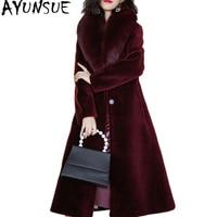 AYUNSUE Women Winter Sheep Shearling Fur Coat Large Natural Fox Fur Collar Long Warm Real Fur Coats Genuine Wool Jackets 17030