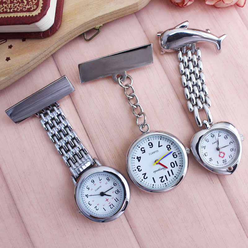 2018 Cyd Women Ladies Nurse Doctor Scross Brooch Pocket  Watches Fashion Sliver Quartz Pendant Clip Fob Watch Clock For Medical