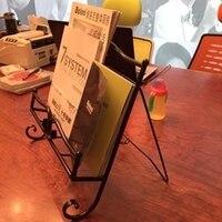 Office Desk Book Newspaper Magazine Rack Simple Hotel Recipes Frame Display Shelf Iron Music Stand