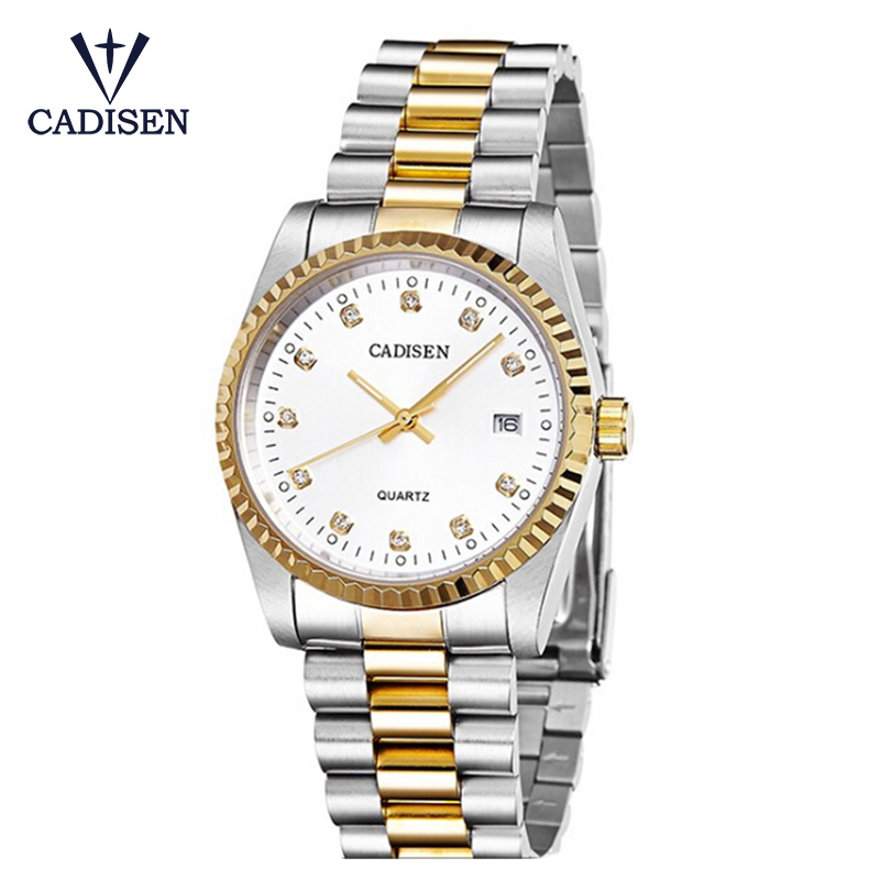 CADISEN Rhinestone Luxury Full Stainless Steel Analog Display Date Men's Quartz Watch Casual Business Watches Men Wristwatches onlyou luxury brand analog display date men s quartz watch casual business watches men stainless steel wristwatches waterproof