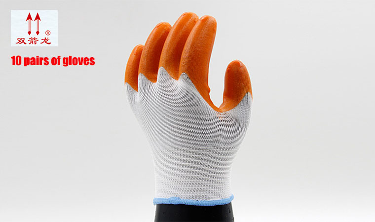 Popular nylon guantes densified PVCguantes trabajo dust-free orange mechanic gloves oil resistant 10 pairs/package