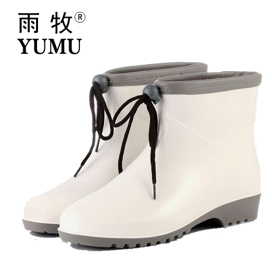 short cylinder rubber rain boots to help low boots female spring japanese garden water shoes ankle