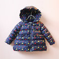 Девушки зимой вниз пальто детей хлопка верхняя одежда с капюшоном на молнии белый темно-синий с длинным рукавом лук отпечатано повседневная толстая куртка одежда