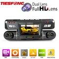 B80 Tiesfong Dual Lens Câmera Do Carro DVR Novatek 96655 WDR Dashcam Full HD 1080 P 170 Graus + 120 Graus Suporte GPS Logger Traço Cam