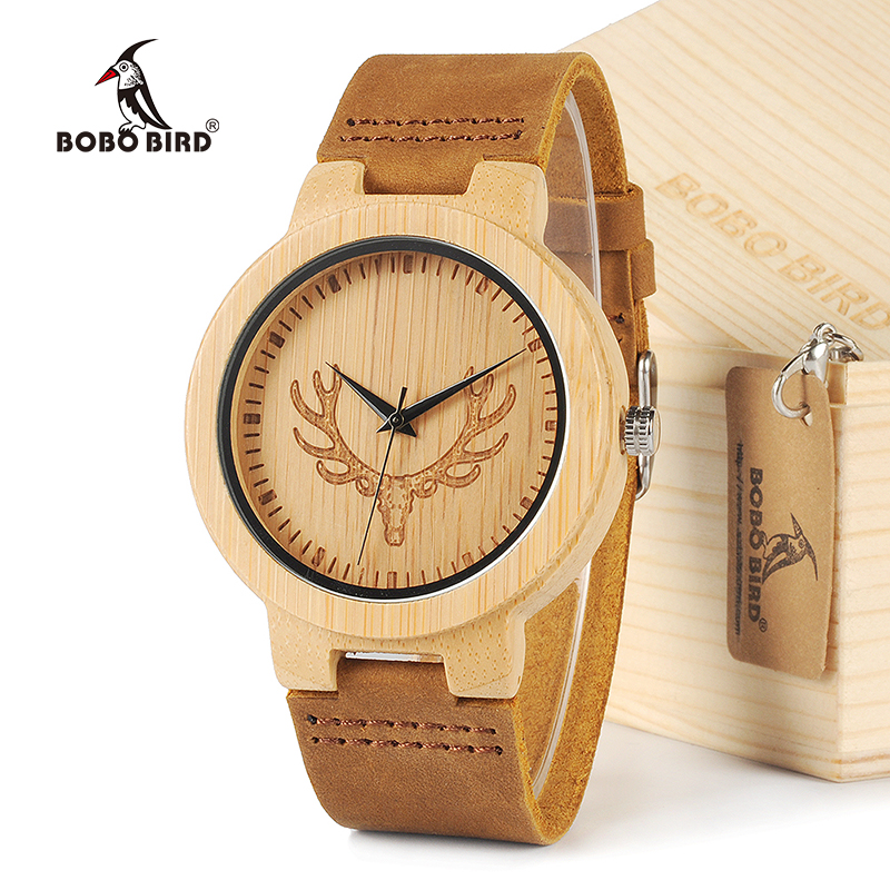 BOBO BIRD Round Vintage Deer Head Bamboo Wood Wrist Watch Men Quartz Analog Watch In Gift Box
