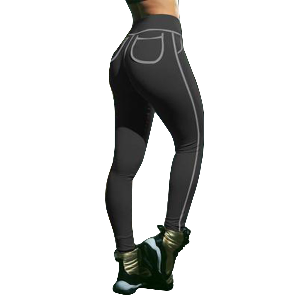 Women Compression Pants Leggings Elastic Sexy with Pocket for Workout Push Hips Leggings