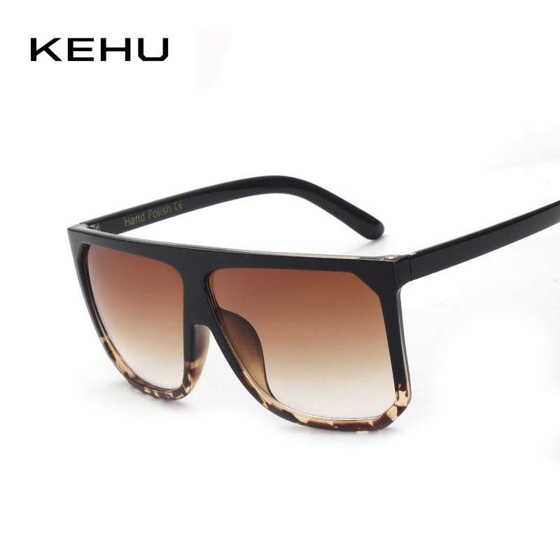 KEHU Newest Women Sunglasses Square Glasses Vintage Big Frame Sun Glasses Acetate Gradient Unique Eyeglasses UV400 k9042