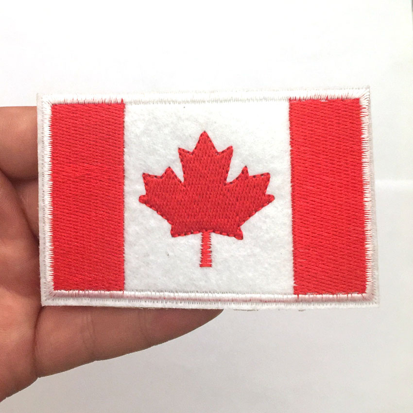 Pink Maple Leaf Embroidered Iron On Patch 2 In