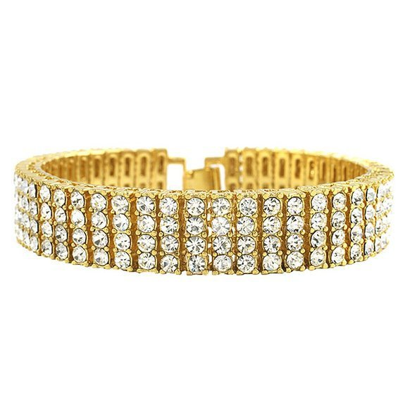 """Men's Black Gold Silver Finish 4 Row Crystal Bracelet 8"""" 14mm Rhinestone Iced Out Hip Hop Bling Bracelet Cool Jewelry"""