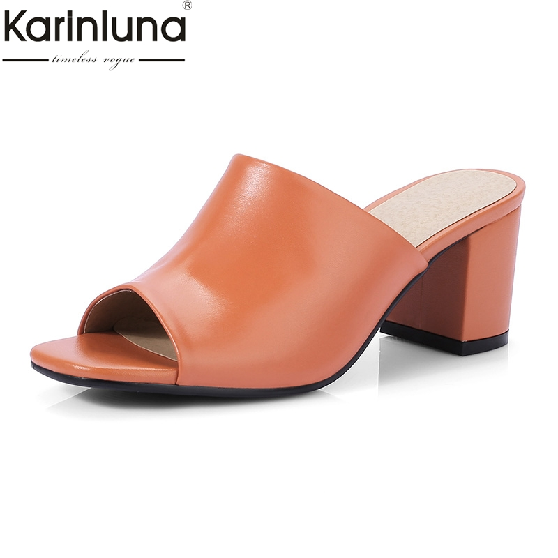 Karinluna Fashion Genuine Leather Summer Women Shoes Lady Open Toe Elegant Party Shoes Woman Chunky Heels