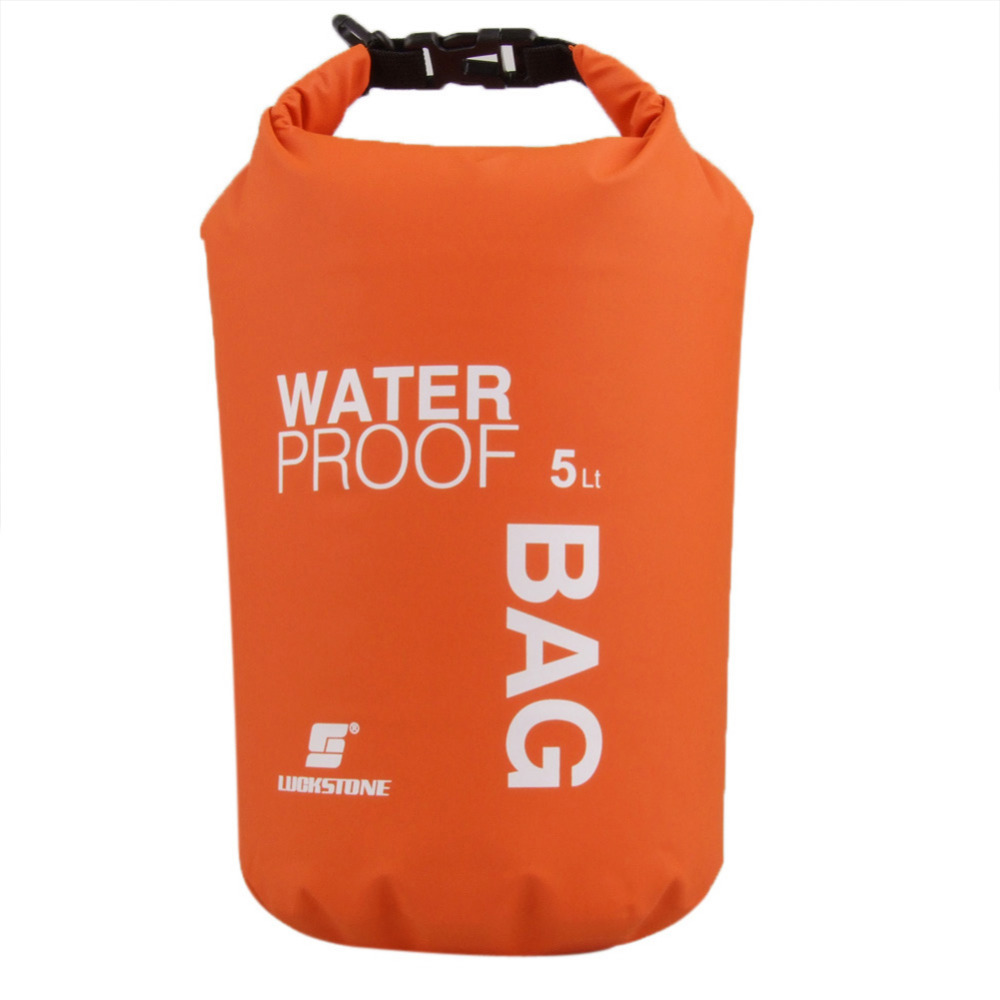 LUCKSTONE 5L Ultralight Outdoor Waterproof Rafting Dry Bag Camping Travel Kit Equipment Canoe Kayak Swimming Bags Storage Orange