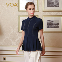 VOA 2017 Summer Silk Knitting Half High Neck Women Tops Fashion Dark Blue Plus Size Slim Elegant Temperament T Shirt B7639