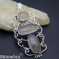 Hermosa Jewelry Beauty Natural Rutilated Quartz 925 Sterling Silver Jewelry Three Stone Necklace Pendant AZ899