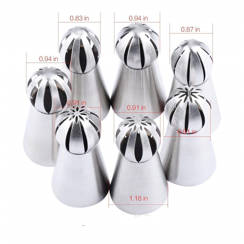 Cake Decorating tool 7pc/set Ball Piping Tips Sphere Nozzles Cream ...