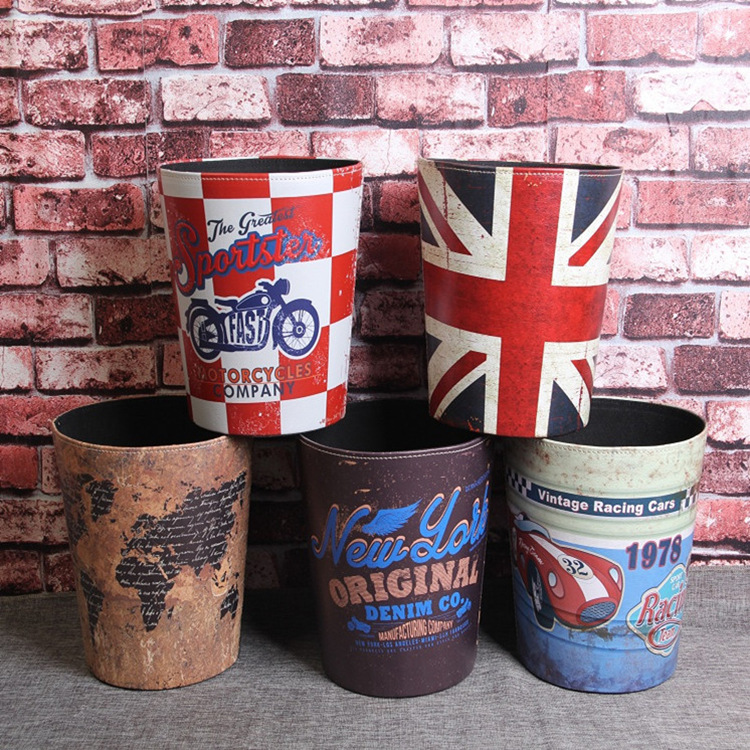 1pcs Retro Leather Trash Cans Home Waste Bins Kitchen