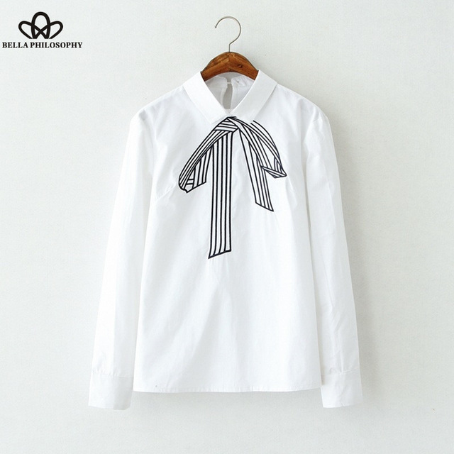 Белла Философии 2016 лето новые женские с длинным рукавом Вышивка блузка рубашка