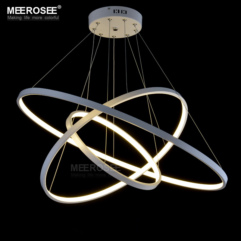 Hanging Light Round: LED Round Chandelier Light White Acrylic LED Hanging Drop