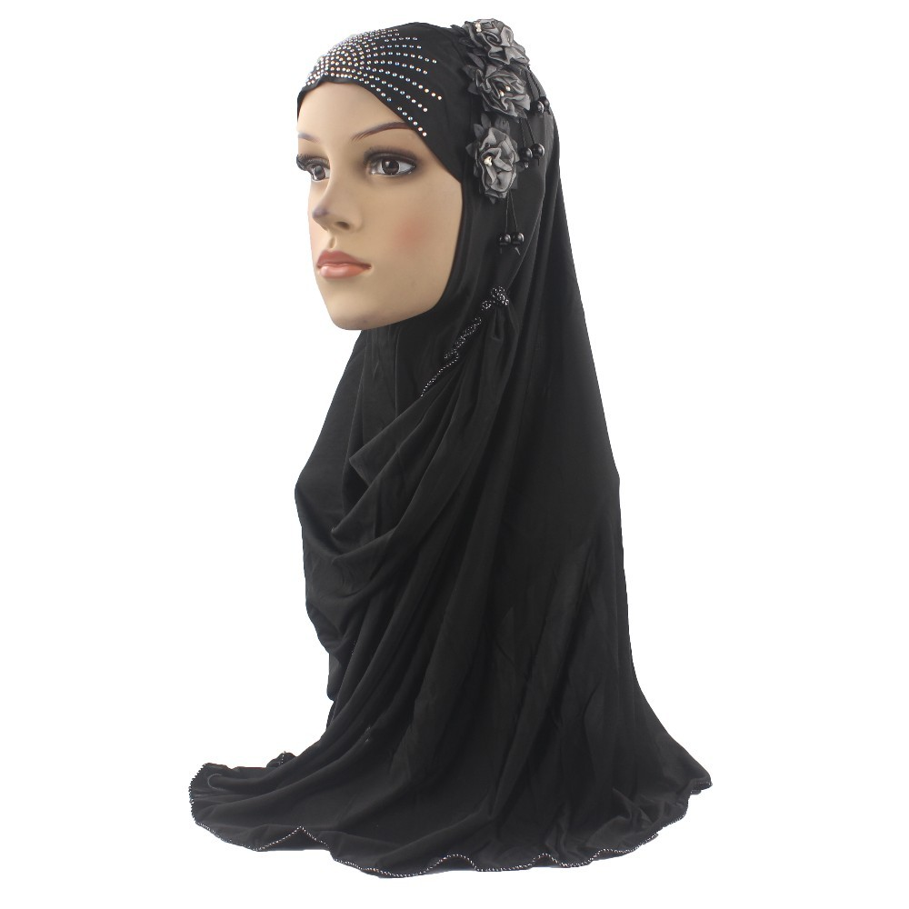 Muslim Islamic Hijab Scarf Woman Girls Amira Cap Beautiful Diamond Three Flowers