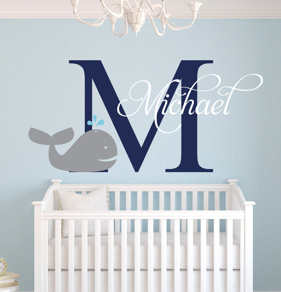From The Window To The Wall Whale - Customize nautical whale baby name cute elephant wall stickers for boys bedroom kids room baby wall