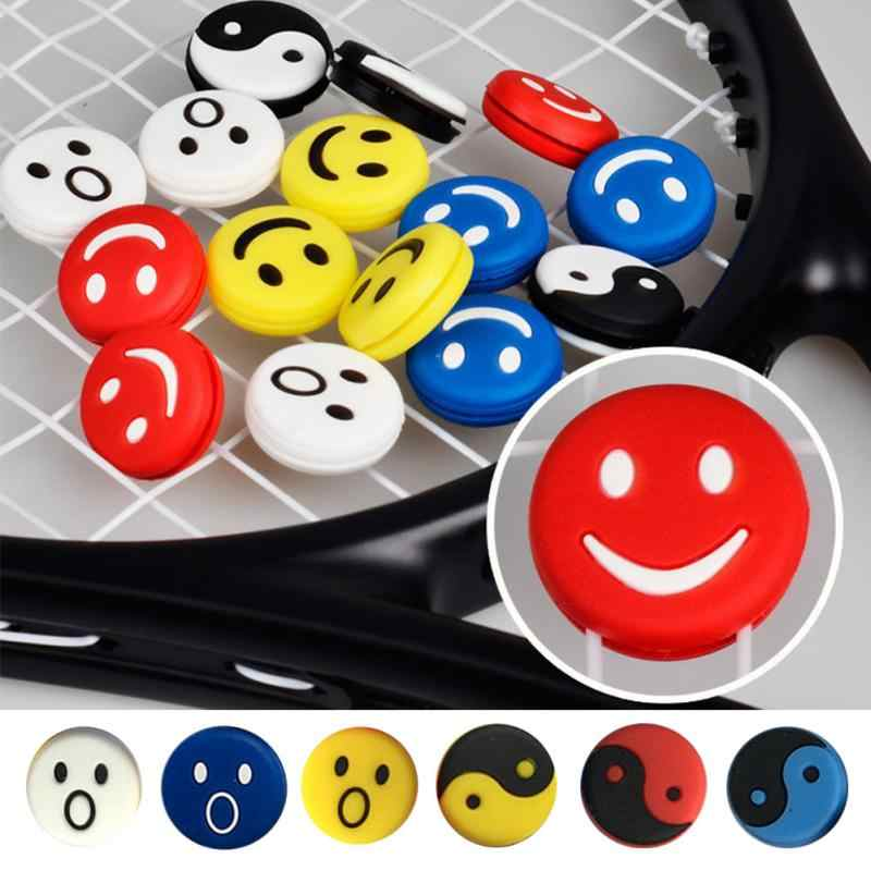 5pcs Soft Smile Head Tennis Racket Dampeners Silicone Anti-skid Sweat Absorbed Soft Wrap Taps Tenis Racquet Vibration Dampeners