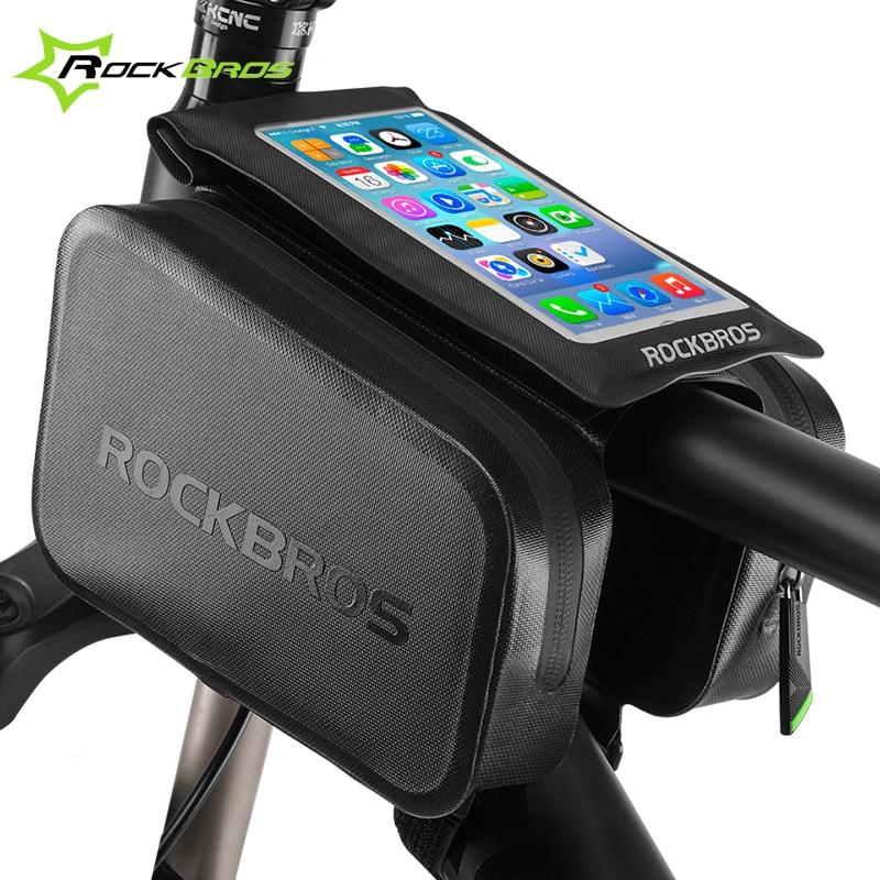 """RockBros Велосипед Передняя труба сумка для 6,0 """"сотовый телефон сенсорный сумка велосипедов Велоспорт сумка двойной Чехол Паньер аксессуары"""